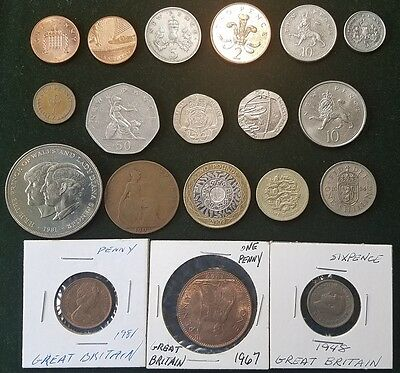 Gb Great Briatain Uk United Kingdom Lot 19 Coins Collection Pound Crown Shilling