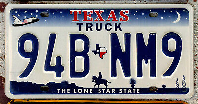 Texas Cowboy on Range Oil Wells with Space Shuttle TRUCK License Plate Vers. #2