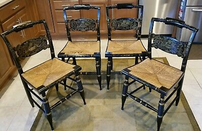 L. Hitchcock Antique Stenciled Fruit Design Dining Room Chairs (4) w/ Rush Seats