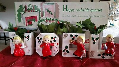 LARGE Vtg RARE 1956 NAPCO WHITE NOEL Xmas Angels JAPAN Ceramic Set & Holly Box