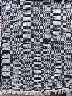 """Antique Woven Coverlet, """"Lover's Knot"""" in Indigo Blue and White, #18413"""
