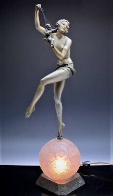 MOST FABULOUS c1920 ART DECO NUDE DANCER w PUPPET FIGURAL LAMP MOLINS BALLESTE