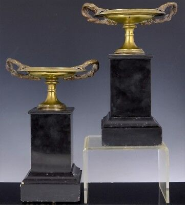 EXCELLENT PAIR c1850 VICTORIAN GRAND TOUR BRONZE HANDLED URNS ON STONE STANDS