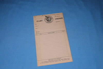 Very Rare! 1925 Indian Motorcycle Sales Company Salem Mass. NOS Order Form