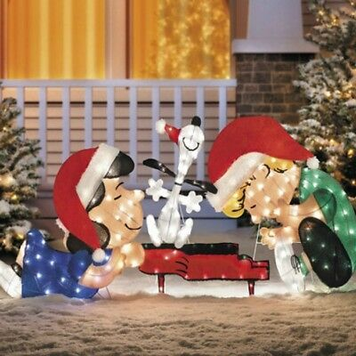 schroeder snoopy leaning lucy piano peanuts christmas tinsel yard art decoration