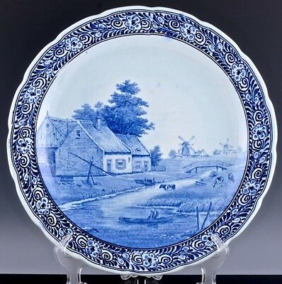 Large Dutch Delft Pottery Blue White Cow River Windmill Scene Plate Wall Plaque