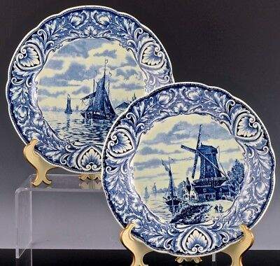 2 Very Nice Vintage Dutch Delft Blue & White Pottery Windmill Boat Scenic Plates