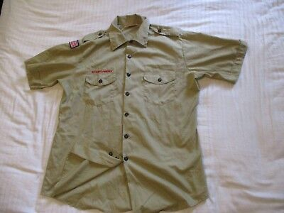 BSA  Boy Scout Uniform Shirt Men's LARGE SS 65%Poly/35%Cotton Made in USA