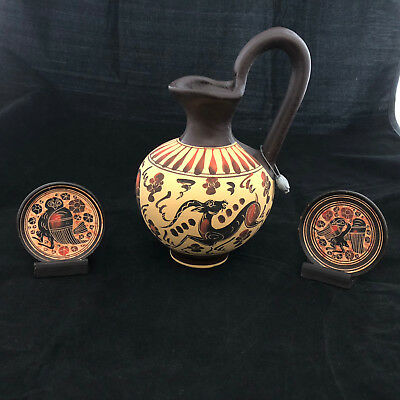 Vintage Greek Corinthian Pitcher / Jug and Two Miniature Plates and Holders