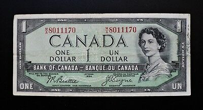 1954 BANK OF CANADA $1 DOLLAR *DEVIL'S FACE* M/A8011170 BC-29b