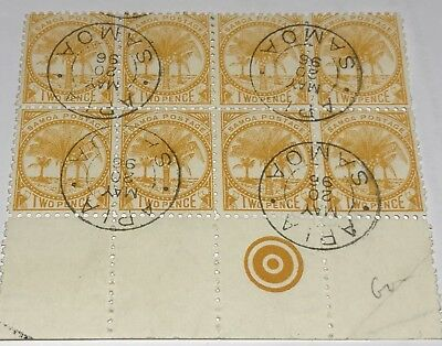 SAMOA POSTAGE Stamps 1896 Block Of 8 Two Pence Stamps With Clear APIA postmark