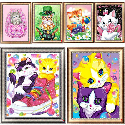 Naughty Cat DIY 5D Diamond Embroidery Painting Cross Stitch Kit Home Décor