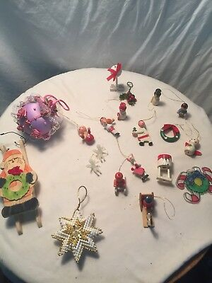 Vintage Christmas Ornaments Decor, Lot Some Hand Made