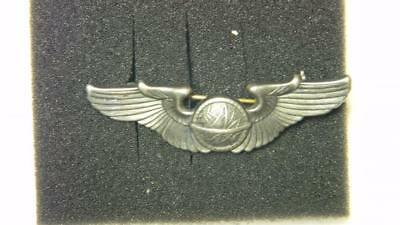 VINTAGE WWII ARMY AIR FORCE STERLING SILVER NAVIGATOR WINGS PIN BACK #8789 glb