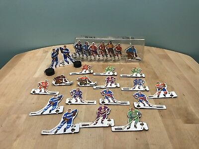 Lot Of 50 Vintage Metal NHL Hockey Tabletop Players with Case & Two Pucks