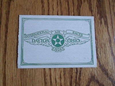 Vintage Original Dayton Ohio International Air Races 1920's Ticket Stub
