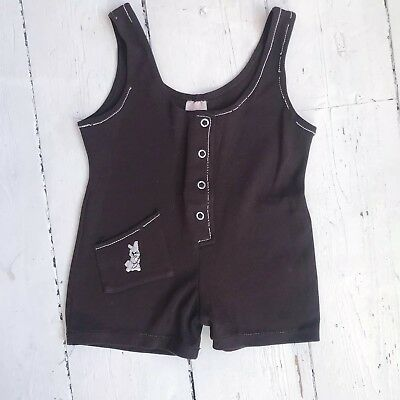 Vintage 1960s / 1970s Brown Baby Romper Age 0- 1 Stretch Polyester