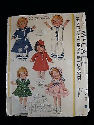 "Vintage McCalls 355 Shirley Temple ""Movie"" Dolls Pattern 1930s"