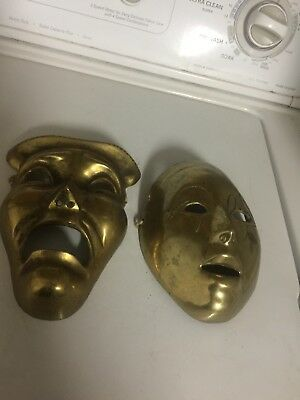 Comedy Tragedy Set Masks Wall Decor Vintage Brass Drama Faces