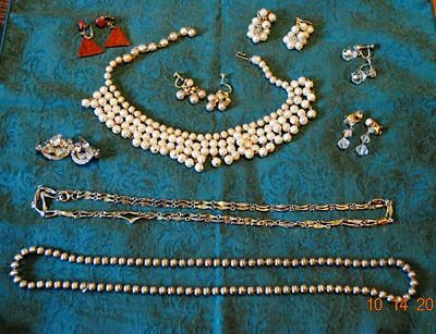 Lot Of Nine Vintage Pieces Of Ladies Jewelry-Necklaces,clip/screw Earrings & Box