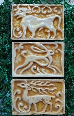 3 Vintage Mexican Mexico Rustic Pottery Tiles Cow Ox Rabbit Hare Stag Deer