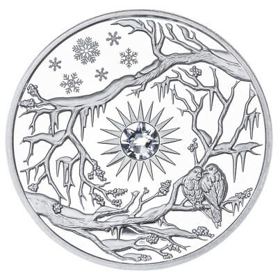 WINTER NIUE $5 2017 Silver 2oz PROOF 3D HIGH-RELIEF Four seasons Birds & Snow
