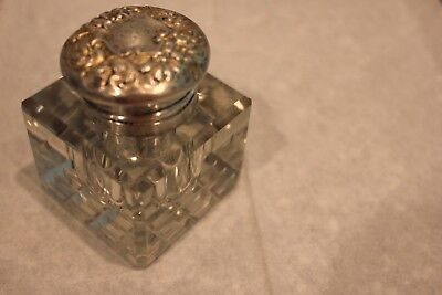 Antique Heavy Cut Glass Inkwell Sterling Silver Repousse Lid Beautiful Fast Shpg