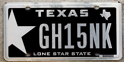 """Black and White Texas """"Lone Star State"""" License Plate"""