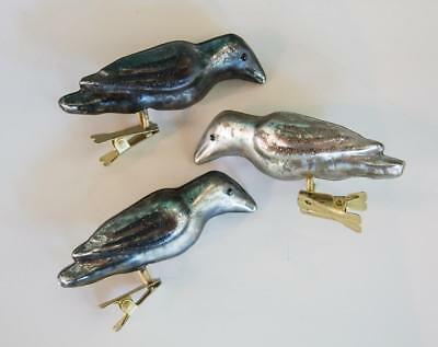 Set/3 Vintage Mercury Glass Raven Crow Bird Halloween Clip On Ornaments Glitter
