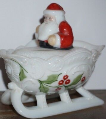 Vintage Westmorland Santa on Sleigh Covered Candy Dish