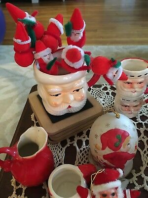 Vintage Lot of  Santa Claus Christmas Decorations mugs, picks, salt pepper ornam