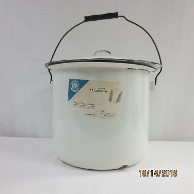Vintage Chamber Pot White Enamel with black Trim + Bail Wire Wood Handle
