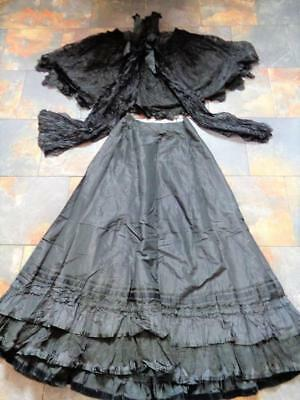 Antique Victorian Womens Mourning Outfit Dress Cape Top Skirt BLACK TAFFETA 1800