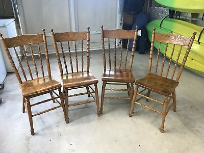 4 X Antique Pressed Back Spindle Chairs