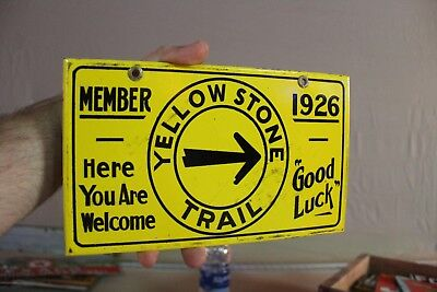 Yellowstone Trail Porcelain Sign Gas Oil Arrow Member National Park Station