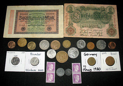 GERMAN REICH COINS WITH SWASTIKAS! GERMANY STAMPS & BANKNOTES! WORLD COINS! #k29