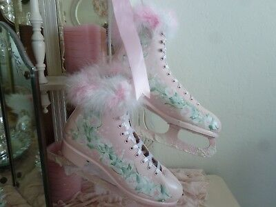Shabby Chic Pink Christmas Ice Skates HAND PAINTED ROSES with Fur & Satin Ribbon