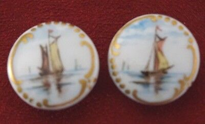 Set of Two Antique Porcelain Hand Painted Collar Buttons