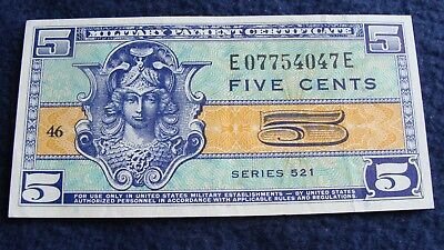 Military Payment Certificate Uncirculated Five Cents Series 521
