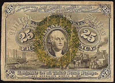 25 Cent Fractional Note United States Currency 1863-1867 Small Old Paper Money