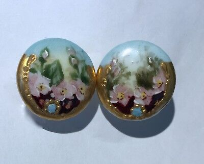 Lot 2  Matching Antique Porcelain /china Hand Painted Stud Buttons~Gilt~Blossoms