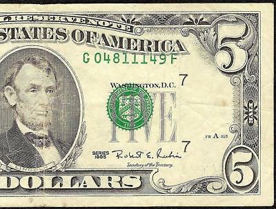 1995 $5 Dollar Misaligned Print Error Federal Reserve Note Currency Paper Money
