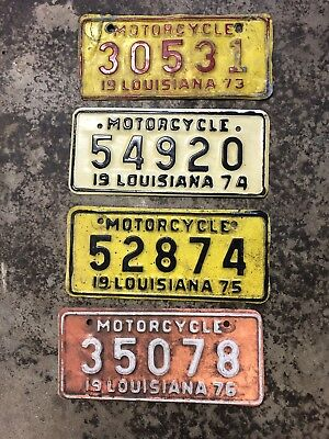 Vintage Louisiana 1973,74,75,and 76 Motorcycle License Plates