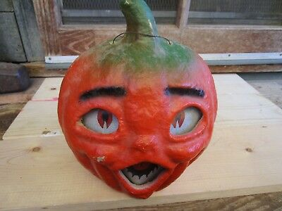 1940's Vintage large double sided face Halloween JOL lantern with stem