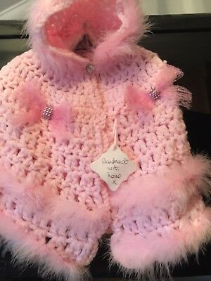 Brand New Beautiful Pink Handmade Baby Girls Cape With Fur Trim And Crystal Bows