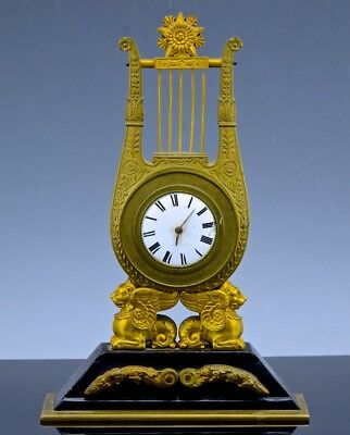 RARE EARLY 19thC GEORGIAN VERGE FUSEE POCKET WATCH FRENCH LYRE SPHINX DESK CLOCK
