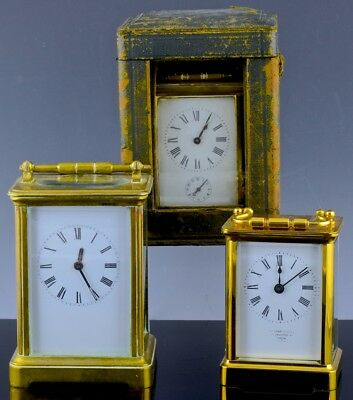 Estate Collection Of 3 Antique French Gold Gilt Bronze Traveling Carriage Clocks
