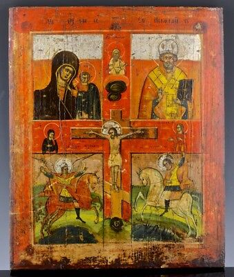 GREAT AUTHENTIC 19thC RUSSIAN HAND PAINTED ICON ON WOOD PANEL RELIGOUS FOLK ART