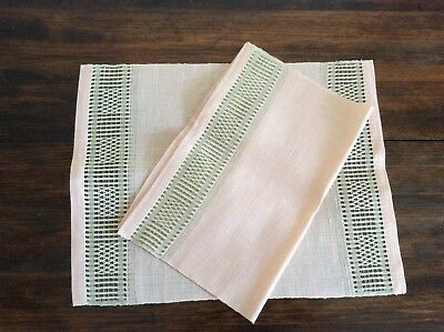 Set of 2 Vintage hand woven Swedish Linen Placemats - pink and tan