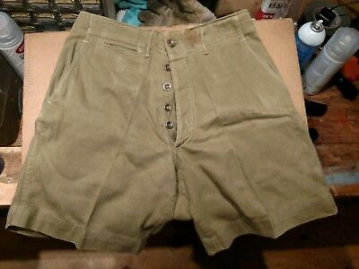 Vintage 30s 40s Boy Scouts Hiking Shorts BUTTON FLY BSA Metal Buttons